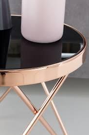 Design Beistelltisch Dreibein Metall Glas ø 42 Cm Schwarz Kupfer