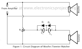 woofer tweeter matcher electronics project tweeter wiring diagram circuit diagram of woofer and tweeter matcher Tweeter Wiring Diagram
