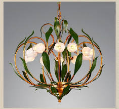 glass flowers green leaves chandeliers american garden artistic suspension lighting living room art deco hanging lamp