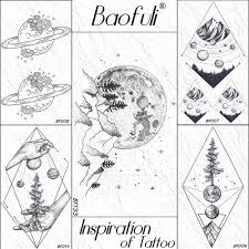 Baofuli планеты луны лес Mountain временные татуировки стикер боди
