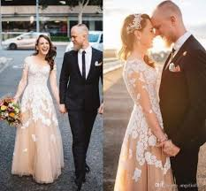 dhgate wedding dress. lace appliques long sleeves wedding dresses 2016 a line v neck sheer back gowns cheap dhgate dress r