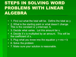 steps in solving word problems with linear algebra