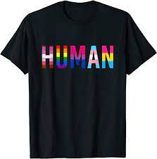 Amazon.com: HUMAN LGBT Flag Gay Pride Month Transgender Rainbow Lesbian T- Shirt: Clothing