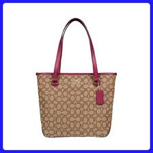 COACH Outline Signature Zip Top Tote F55364 (Khaki Fuchsia) - Totes (