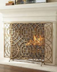 horchow neiman marcus gold interlude pyra geometric fireplace screen 815