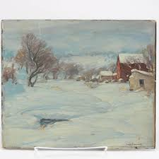 "Signed Ivan Summers Oil On Canvas Board ""A Cold Day"" 