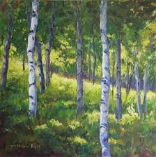 birch tree acrylic painting elegant original art by ingrid dohm acrylic painting