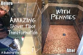amazing shower floor transformation with pennies