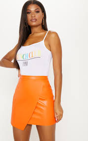 orange faux leather wrap mini skirt image 1