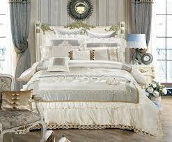 nature silk queen king size white luxury royal bedding set duvet cover cotton bed spread