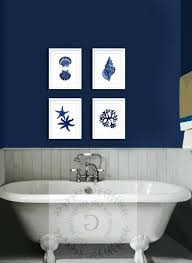 coastal wall decor navy blue art set of beach dark bathroom vanity bathro