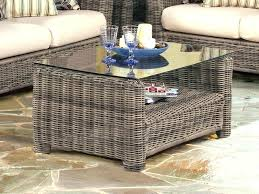 round rattan coffee table glass top wicker with wood within white stools