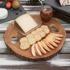 acacia wood slice cheese board rustic wooden serving tray 13 x 1 25 inches