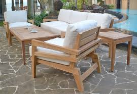 image of simple teak outdoor dining table