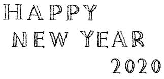 Happy New Year 2020おしゃれでかわいい手書き文字 えんぴつと画用紙
