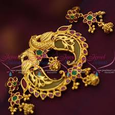 ps7501 one gram gold plated ruby emerald double side tiger nail pendant set