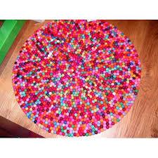 90cm pink tone felt ball rug