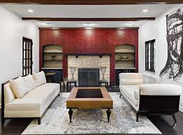 Living Room With Red Contemporary Tudor Living Room In Red And White Leather Lauren