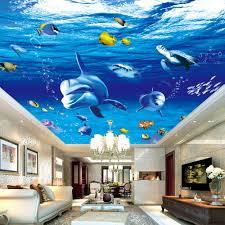 3d Ceiling Design Wallpaper Custom 3d Photo Wall Paper Dolphin Fish Suspended Ceilings Fresco Modern Art Living Room Bedroom Ceiling Design Mural Wallpaper