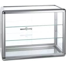 acrylic lockable countertop display case cabinet with lock for and retail aluminium glass 2 shelves thumb locking countertop jewelry display case