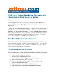 Employer Interview Checklist Exit Interviews Questions Answers And Checklist Management For
