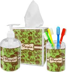 Brown Bathroom Accessories Green Brown Toile Bathroom Accessories Set Personalized