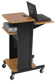 Small Standing Desk On Wheels Furniture Minimalist Laptop With Adjustable  Height Wheeled Black Hardwood Base And Varnished Oak