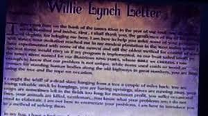 william lynch letter willie lynch letter the making of a slave youtube