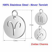 5pcs/<b>lot</b> Horoscope <b>diy</b> Charms 100% Stainless <b>Steel</b> Vnistar Zodiac ...