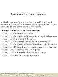 Top 8 ehs officer resume samples In this file, you can ref resume materials  for ...