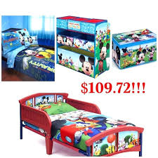 mickey mouse toddler bed multi bin and toy bedroom set