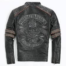 2018 whole 2018 men retro vintage leather biker jacket embroidery skull pattern black slim fit men winter motorcycle coat from hongxigua