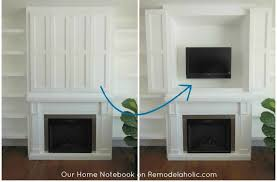tv nook in fireplace shelving unit our home notebook
