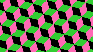 wallpaper green pink black 3d cubes lime green hot pink #32cd32 #000000  #ff69b4