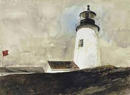 "Olga Tuleninova 🦋 on Twitter: ""Andrew WYETH Storm Signal (the lighthouse  at Pemaquid Point, Maine) 1972… """