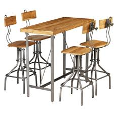 Festnight Unique Design Bar Table Chair Set Industrial Style Bistro Kitchen Breakfast Table With 4 Bar Chairs Barstools Dining Room Kitchen Furniture