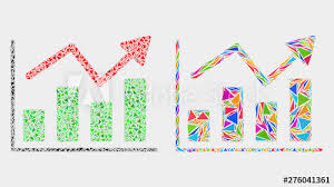 Trend Chart Collage Icon Of Triangle Elements Which Have