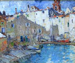 fishing village provence harry aiken vincent oil on canvas 20 x mcdougall fine arts galleries