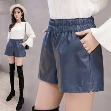 details about pu leather shorts women plus size elastic high waist pocket wide leg