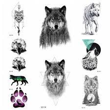 черный свирепый злой волк временные татуировки наклейки боди арт рисунок