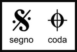 The coda is denoted by a circle with a cross through it. Dal Segno Al Coda Italian Musical Terms