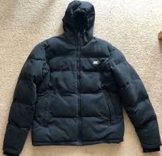 caterpillar mens black puffer jacket with hood size small