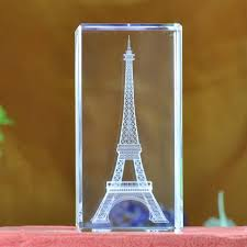 Eiffel Tower Home Decor Accessories Best JQJ 32D Laser Engraved Quartz Crystal Glass Eiffel Tower Paperweight