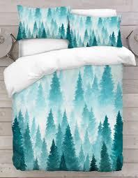 blue ombre tree duvet bedding