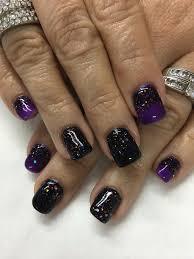 Halloween Gel Nail Designs 2018 Halloween Black Purple Light Elegance Black Magic Glitter