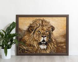 lion wall art stained glass mosaic
