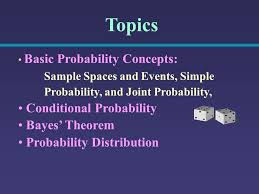 probability theory topics basic probability concepts sample  2 topics basic probability concepts sample spaces and events simple probability and joint probability conditional probability bayes theorem probability