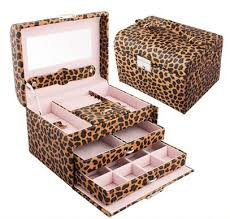 3 layers leopard print gift jewelry box display bo accessories casket for necklaces makeup organizer storage