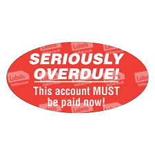 Overdue Account Seriously Overdue Account Stickers 50x25mm Labels Online