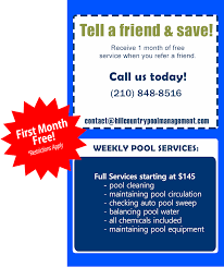 hcpm weekly pool services refer a friend ad service e87 pool